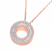 J-Jaz Rose gold plated Sterling Silver Circle of Life pendant with 17 inch Cubic Zirconia Baguette